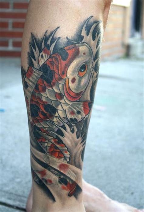 koi fish calf tattoo calico koi calf tattoo by tim senecal tattoos