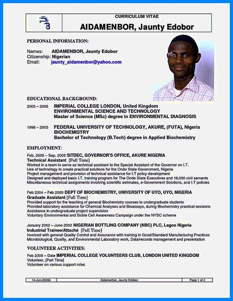 format for cv writing in nigeria sles of cvs for fresh graduates in nigeria resume