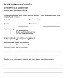 Free Written Warning Template by Written Warning Template 9 Free Pdf Word Documents