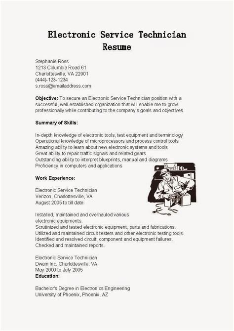 Resume Template Electronics Technician sle resume for electronics technician exle