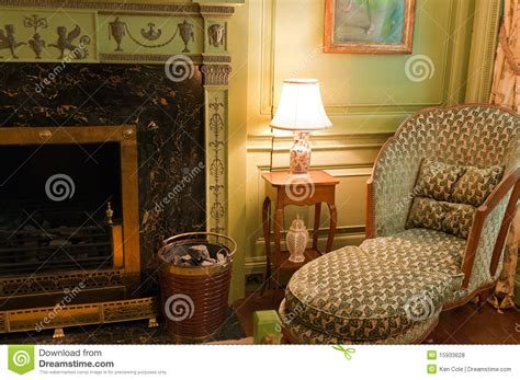 victorian chair  fireplace royalty  stock  image