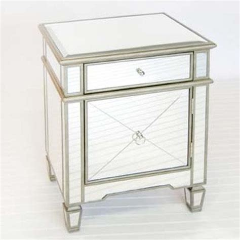 Nightstands And Bedside Tables Worlds Away Crosshatch Mirrored Nightstand Traditional