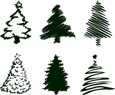 grungy christmas tree sketch set i
