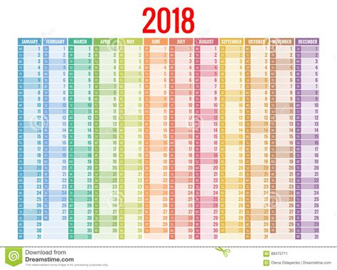 Sunday Only Calendar 2018