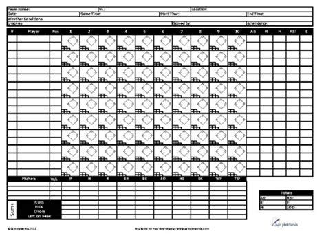 printable baseball score sheet template
