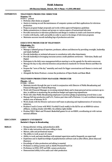 Television Producer Resume by Television Producer Resume Sles Velvet
