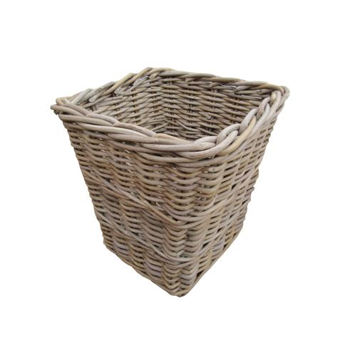 rattan baskets buy wicker grey buff square rattan waste paper bins
