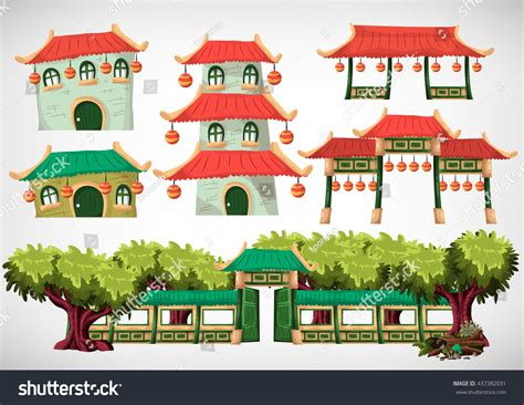 china house design china house objects game animation game stock vector 437382031 shutterstock