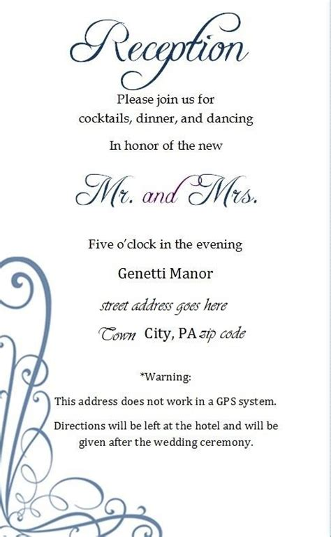 wedding invitation reception card exles 15 best wedding details card images on