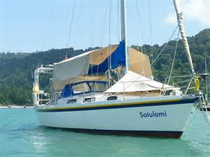Sailboat Awning Sailing Yacht Tosca 36 Salulami In The Andaman Sea And