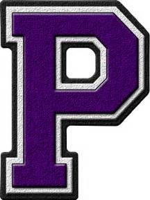 presentation alphabets purple varsity letter p