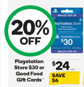 Gift Cards 20 Off - expired 20 off 30 playstation network cards at woolworths gift cards on sale