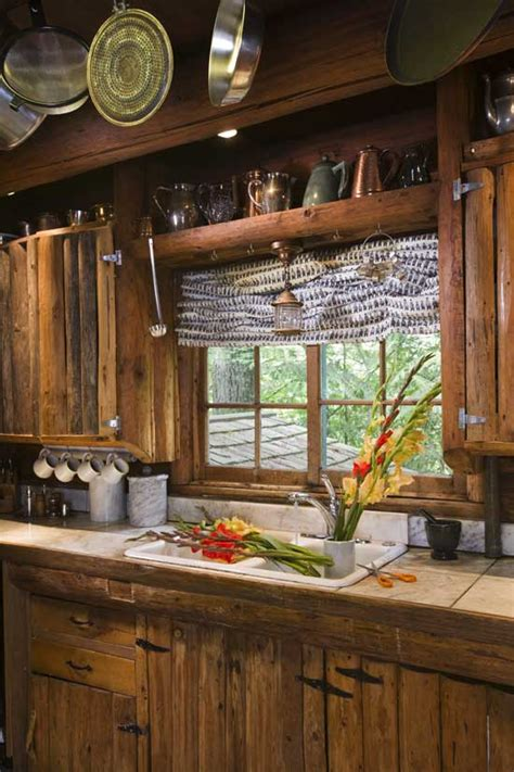 Rustic Log Kitchen Cabinets An Entry From Emilialua Log Cabin Kitchens Cabin Kitchens And Winter Cabin