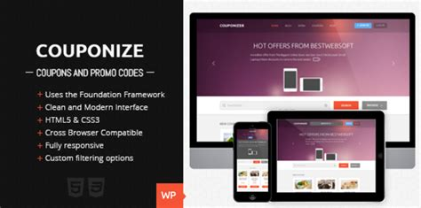 themeforest coupon theme couponize responsive coupons and promo theme by