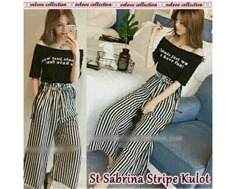 Stripe Sabrina Karet by Baju Korea St Sabrina Stripe Kulot Black