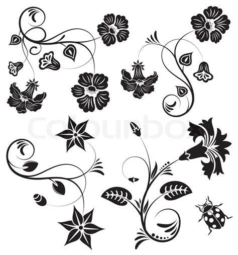 fiore designs blume ausschnitt retro vektorgrafik colourbox