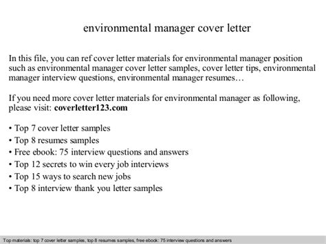 Environmental Expert Cover Letter by Environmental Manager Cover Letter