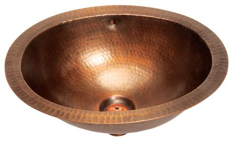 copper undermount bathroom sink belle foret model bfc11 wc small oval lavatory undermount