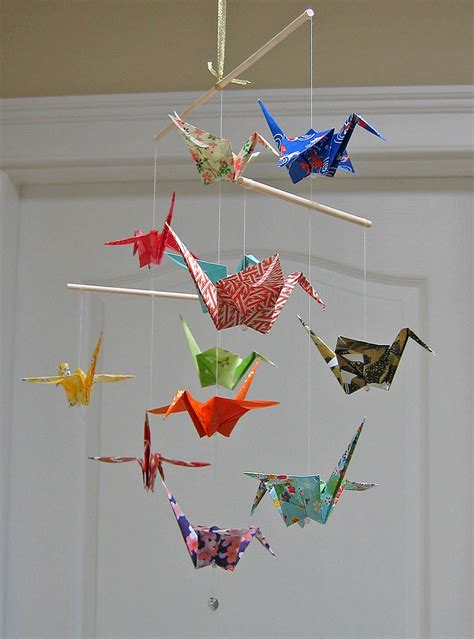 Origami Mobiles - origami crane mobile assorted washi print papers home