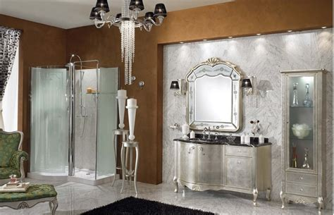 Luxury Bathroom Furniture Luxury Bathroom With Silver Vanity Design Sleek Floor Brown Wall Decor And Glass Shower Room