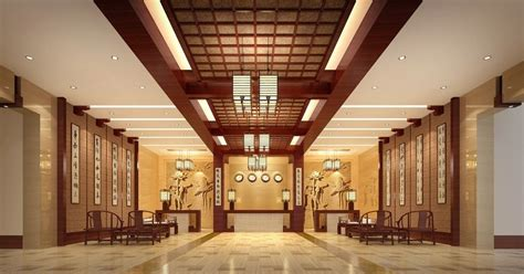 chinese style hotel lobby interior design rendering