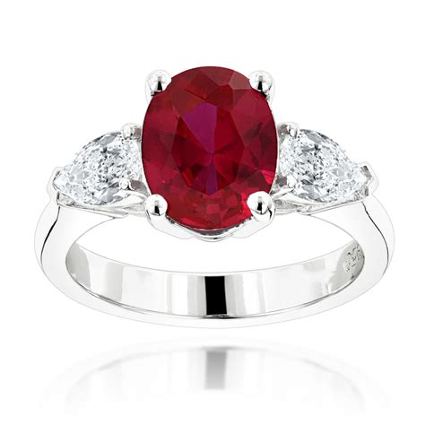 Ruby Engagement Rings by Unique 3 Platinum And Ruby Engagement Ring