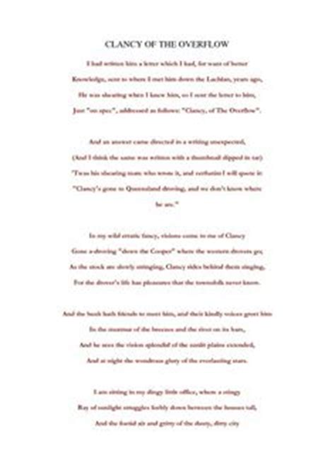 Clancy Of The Overflow Essay by Clancy Of The Overflow By A B Banjo Paterson Resource For Students To Understand