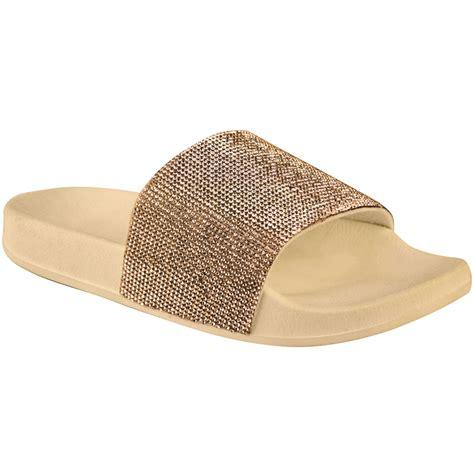 sparkly slippers womens slip on sliders flat sparkly diamante bling