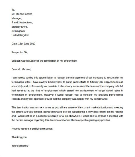 10 Job Termination Letters Free Word Pdf Documents Download Free Premium Templates Appeal Letter Template
