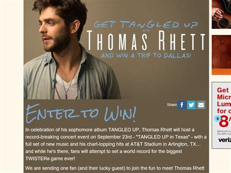 Sweepstakes In Texas - cumulus radio s get tangled up with thomas rhett in texas sweepstakes