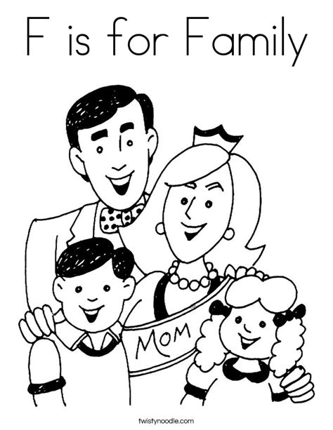F Is For Family Coloring Page Twisty Noodle Coloring Pages For Family
