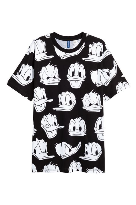t shirt with printed pattern black donald duck h