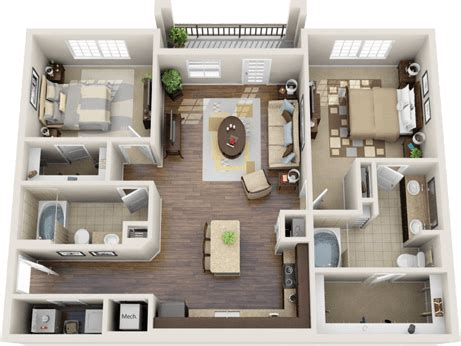 How Many Square Is A 2 Bedroom Apartment by 3d Floor Plan Apartment Search Apartment Living