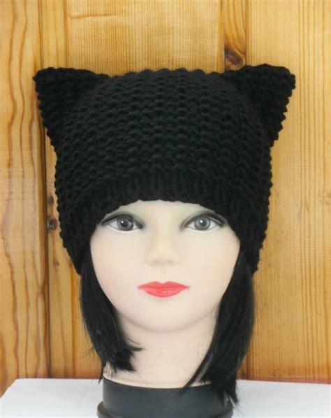 Black Beanie Cat Ear Wool Hat black cat hat knit cat ear hat or cat beanie womens cat