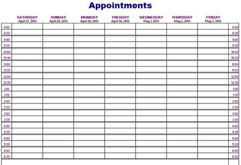 free printable weekly appointment calendar printable