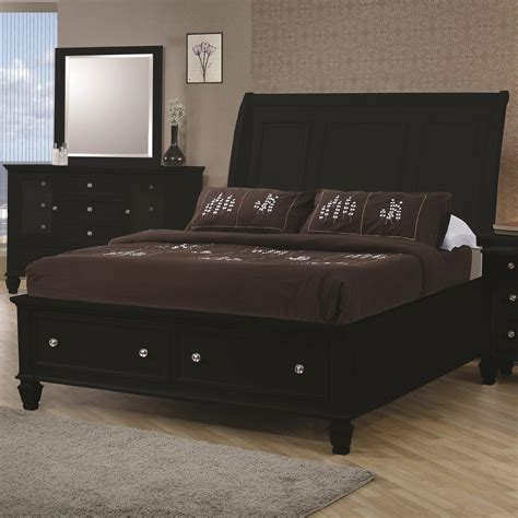 Sleigh Bed With Storage Black Sleigh Bed With Footboard Storage Beds Coa 201329q 3