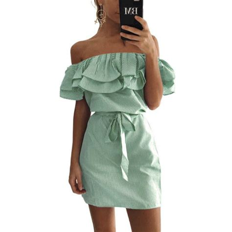Green Flounced Dress Wbelt Size L Xl Hq 5437 4 colour 2017 summer fashion s new striped dresses ruffle dress casual style