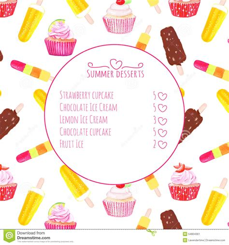 cupcake menu card template card cupcake with wafer vector
