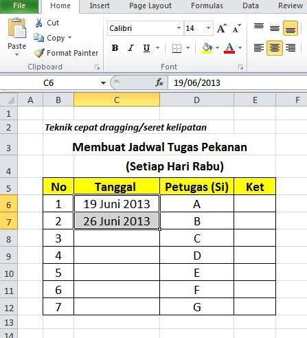 membuat header berulang di excel cepat membuat jadwal tanggal berulang pada excel
