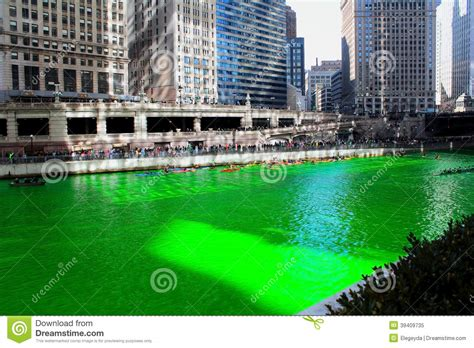 chicago river st s day history chicago river stock photo image 39409735