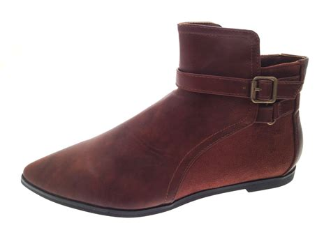 womens faux leather suede zip up pixie low ankle boots