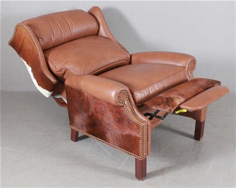 Western Leather Recliner by Western Style Brown Leather And Cowhide Recliner With Nailhe