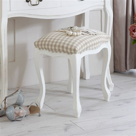 white wooden dressing table stool mirror shabby