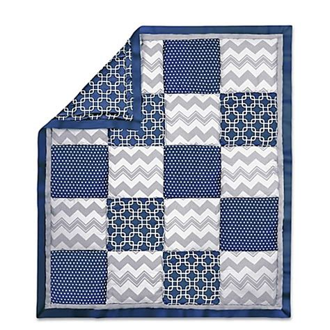 Navy Patchwork Quilt - the peanut shell 174 geometric patchwork quilt in navy grey