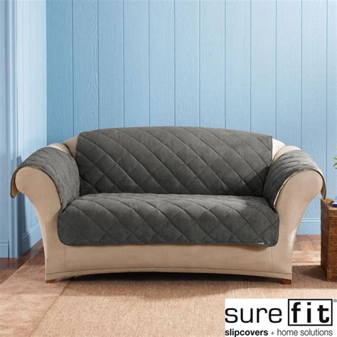 how to put on a sure fit sofa cover sure fit graphite reversable quilted sherpa sofa cover