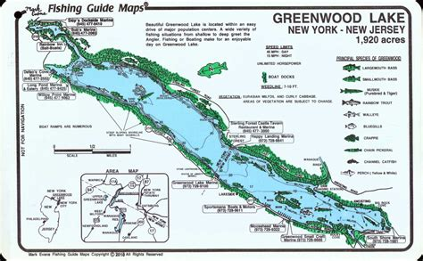 Greenwood Lake Fishing Map - Mark Evans Maps