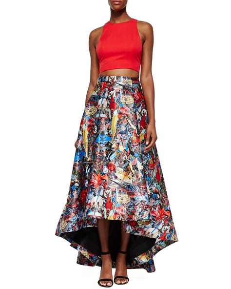 floral print high low skirt in lyst