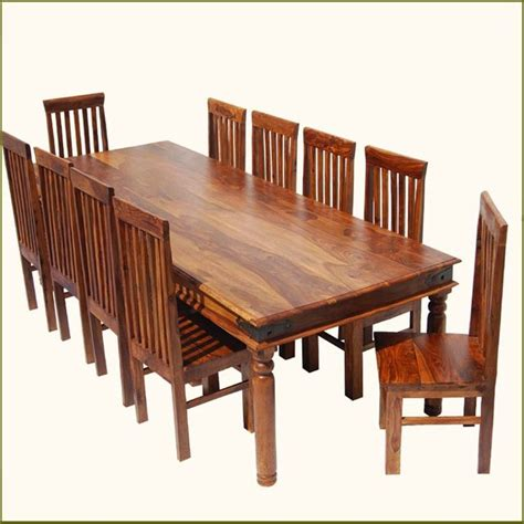Large Dining Set Rustic Large Dining Room Table Chair Set For 10