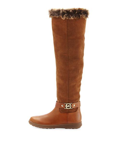 michael michael kors alora winter knee boot in brown