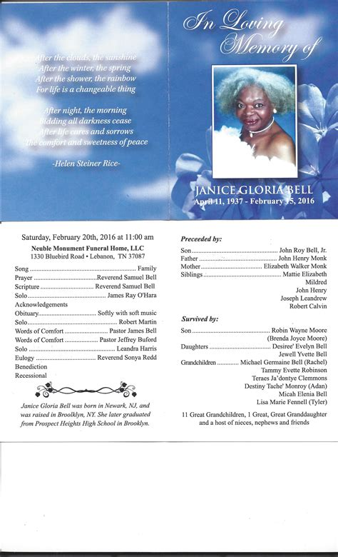 obituary programs 2016 neuble monument funeral home llc